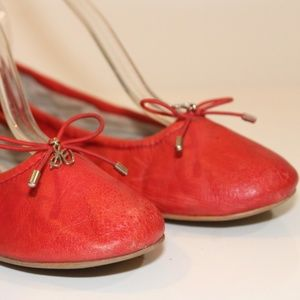 Sam Edelman Red Leather Slip-On Ballet Flats